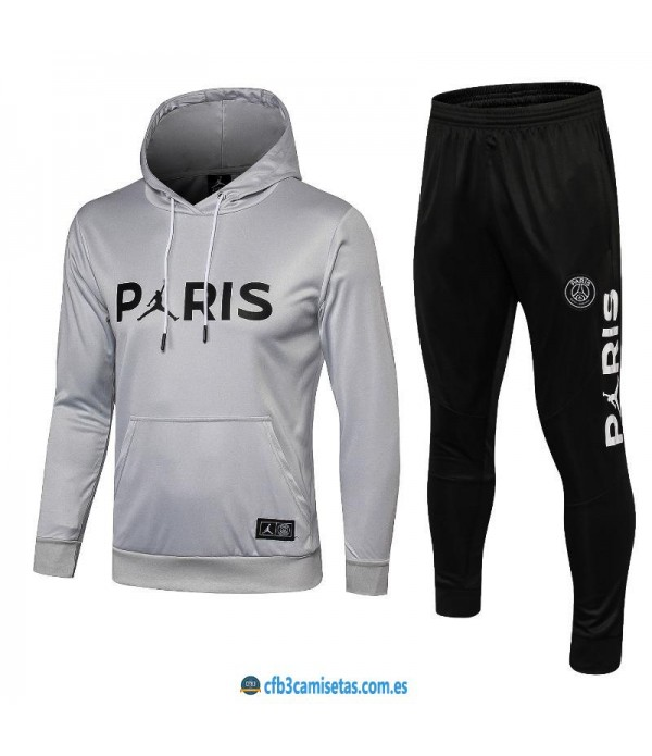 CFB3-Camisetas Chándal PSG x Jordan 2018 2019 Gri...