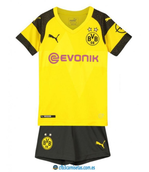CFB3-Camisetas Borussia Dortmund 1a Equipación 2018 2019 Kit Junior