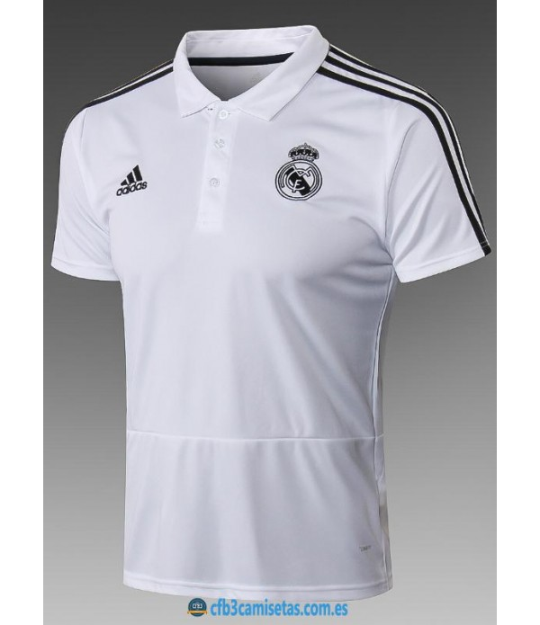CFB3-Camisetas Polo Real Madrid 2018 2019 White