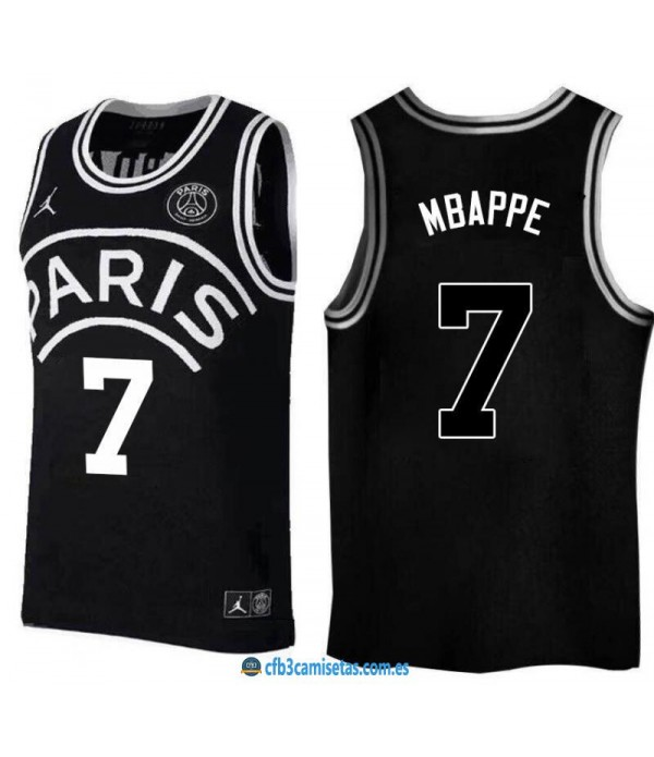 CFB3-Camisetas Mbappe 7 Jordan x PSG Flight Black