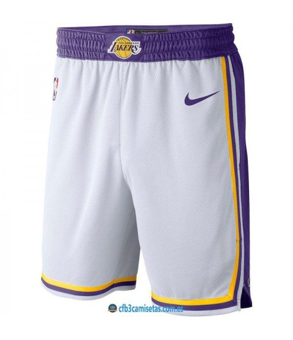 CFB3-Camisetas Pantalones Los Angeles Lakers 2018 2019 Association