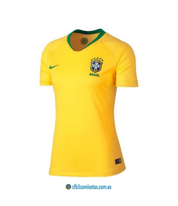 CFB3-Camisetas Brasil 1a Equipación 2018 MUJER