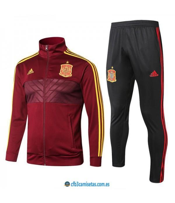 CFB3-Camisetas Chándal España 2018 Rojo
