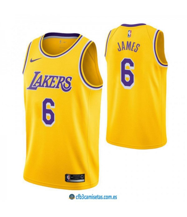 CFB3-Camisetas LeBron James 6 Los Angeles Lakers I...