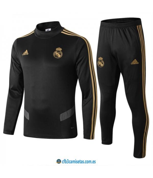 CFB3-Camisetas Chándal Real Madrid 2019 2020 Negr...