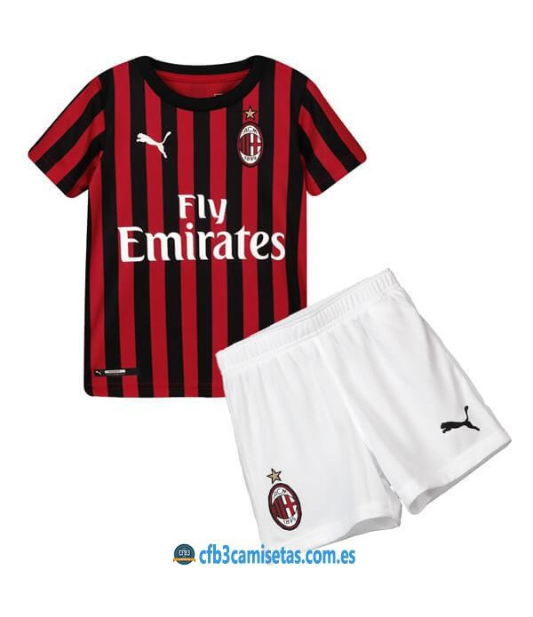 CFB3-Camisetas AC Milan 1a Equipación 2019 2020 Kit Junior