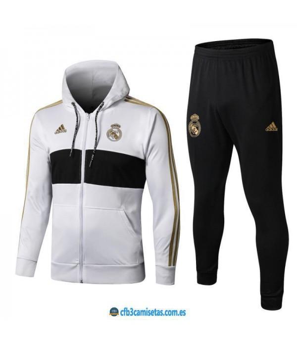 CFB3-Camisetas Chándal Real Madrid 2019 2020 Whit...