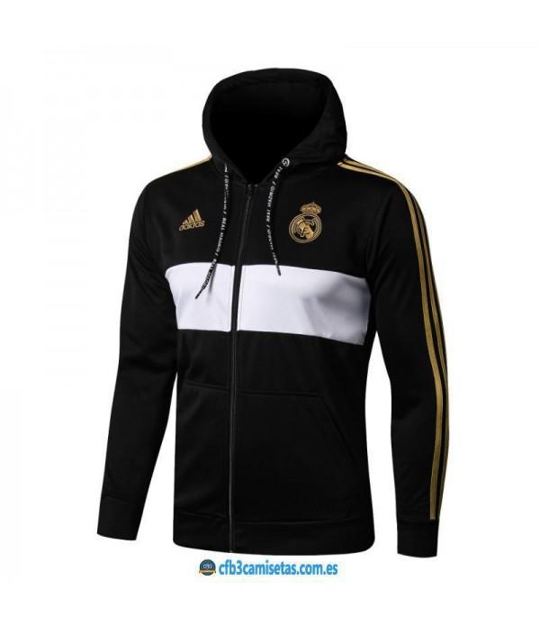 CFB3-Camisetas Chaqueta con capucha Real Madrid 2019 2020 Black
