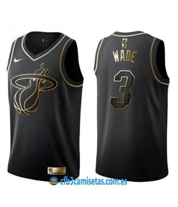 CFB3-Camisetas Dwyane Wade Miami Heat Black/Gold