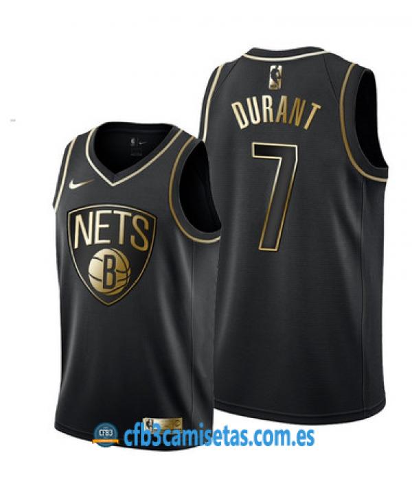 CFB3-Camisetas Kevin Durant Brooklyn Nets Black/Go...
