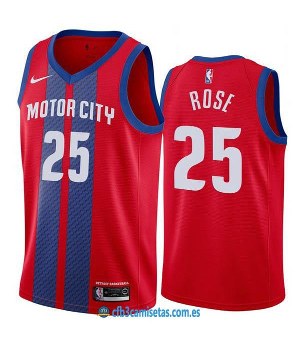 CFB3-Camisetas Derrick Rose Detroit Pistons 2019 2020 City Edition
