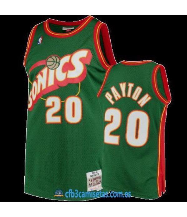 CFB3-Camisetas Gary Payton Seattle SuperSonics 1995 96