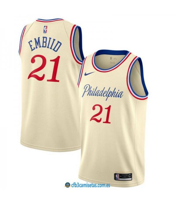 CFB3-Camisetas Joel Embiid Philadelphia 76ers 2019 2020 City Edition