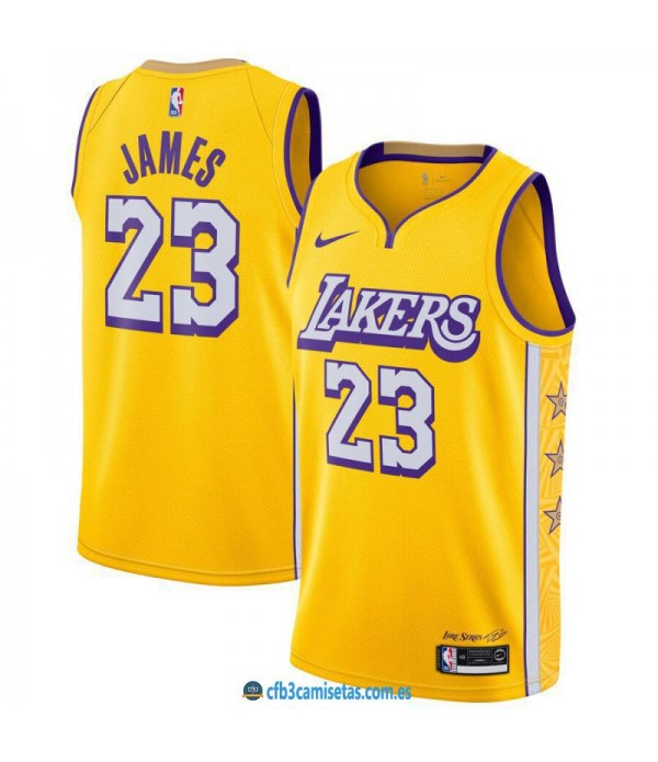 CFB3-Camisetas LeBron James Los Angeles Lakers 2019 2020 City Edition