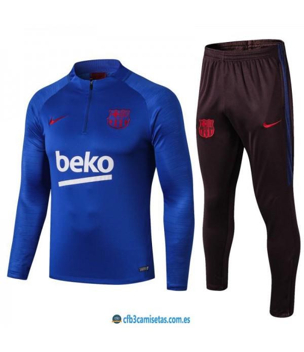 CFB3-Camisetas Chándal FC Barcelona 2019 2020 Azul JUNIOR