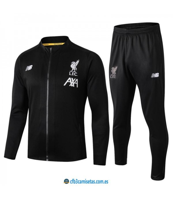 CFB3-Camisetas Chándal Liverpool 2019 2020 Negro JUNIOR