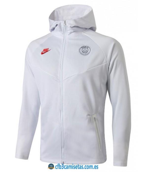 CFB3-Camisetas Chaqueta con capucha PSG 2019 202020 White