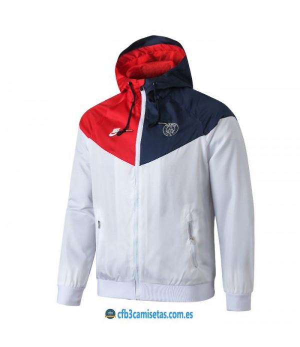 CFB3-Camisetas Chaqueta con capucha PSG x Jordan 2019 2020 Blanca