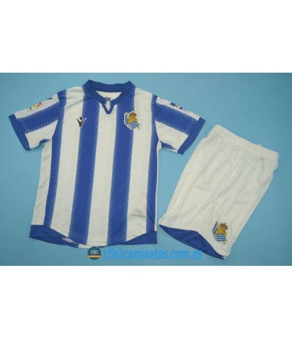 CFB3-Camisetas Real Sociedad 1a Equipación 2019 2020 Kit Junior