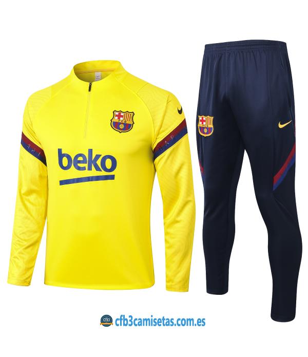 CFB3-Camisetas Chándal FC Barcelona 2020/21 - Amarillo
