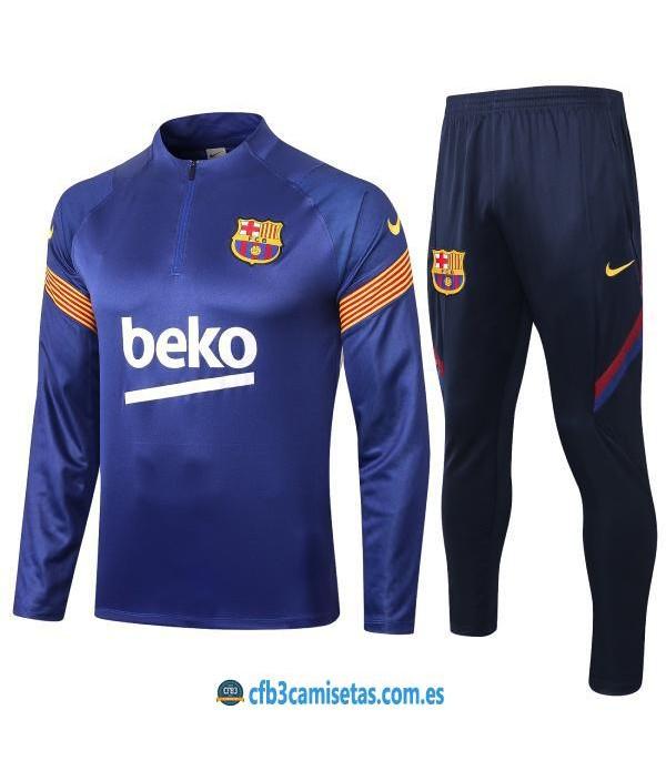 CFB3-Camisetas Chándal FC Barcelona 2020/21 Azul - JUNIOR