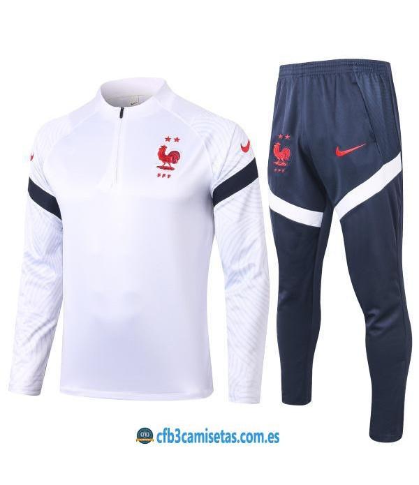 CFB3-Camisetas Chándal Francia 2020/21 Blanco - JUNIOR