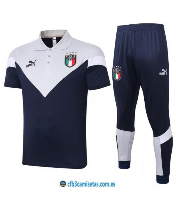 CFB3-Camisetas Polo Pantalones Italia 2020/21 Blanco