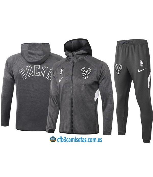 CFB3-Camisetas Chándal Milwaukee Bucks - Black
