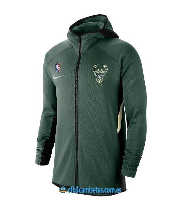 CFB3-Camisetas Chaqueta con capucha Milwaukee Bucks - Green