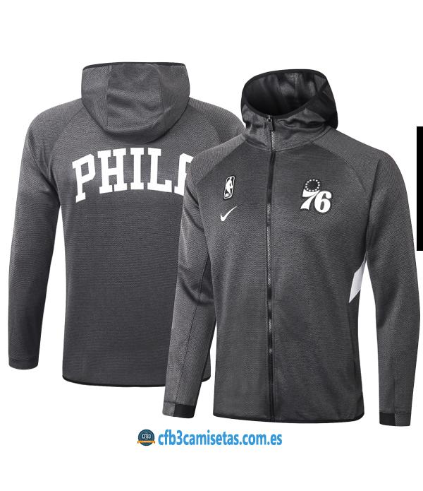 CFB3-Camisetas Chaqueta con capucha Philadelphia 76ers - Black