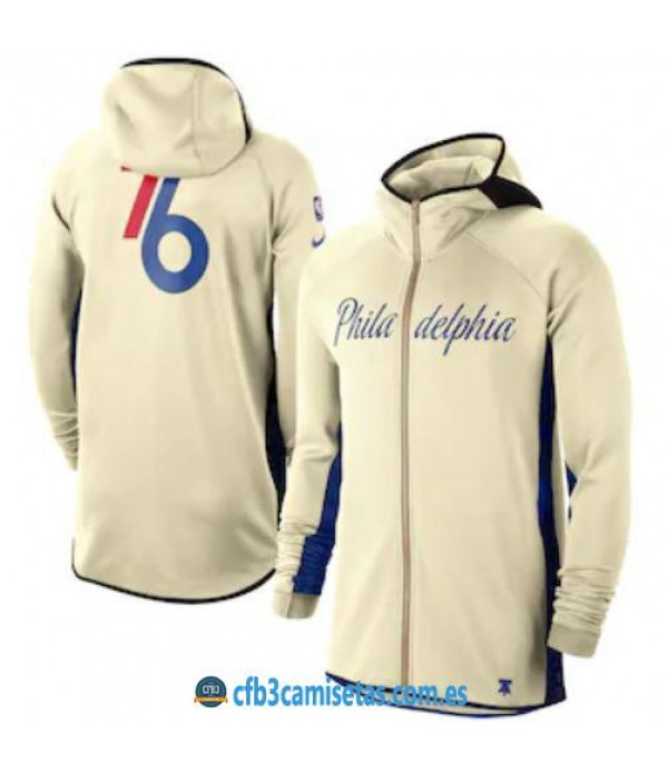 CFB3-Camisetas Chaqueta con capucha Philadelphia 76ers - Cream