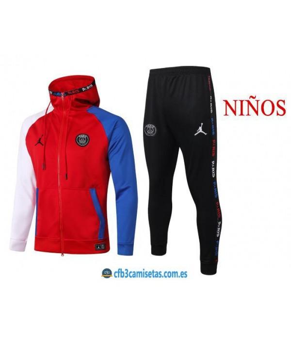 CFB3-Camisetas Chándal PSG x Jordan 2020/21 Rojo - NIÑOS