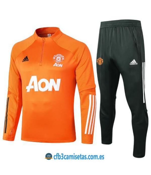 CFB3-Camisetas Chándal manchester united 2020/21-naranja - niÑos