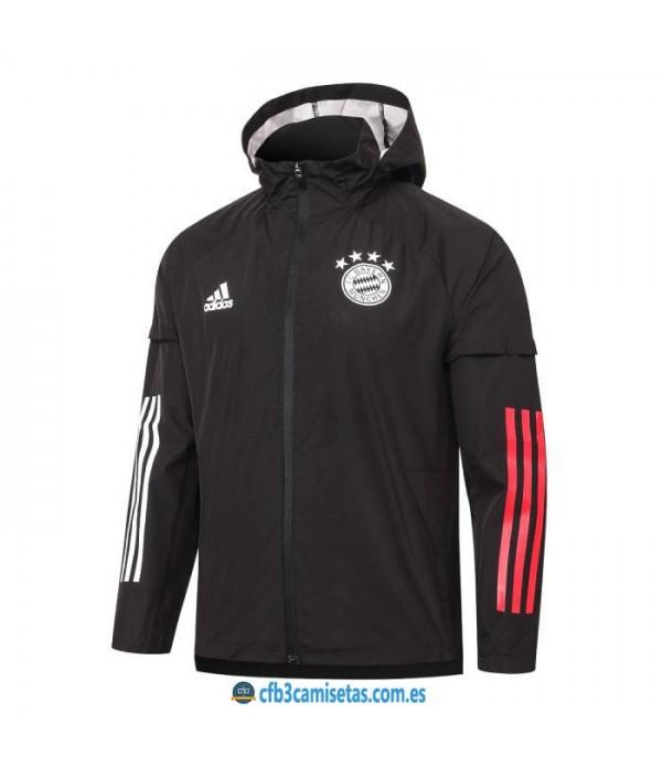 CFB3-Camisetas Chaqueta impermeable con capucha bayern munich 2020/21 - negra