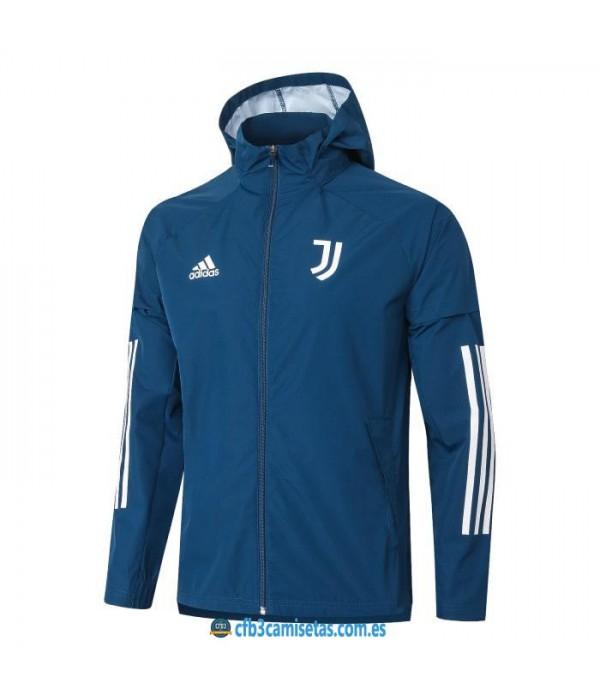 CFB3-Camisetas Chaqueta impermeable con capucha juventus 2020/21 - azul