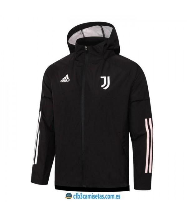 CFB3-Camisetas Chaqueta impermeable con capucha juventus 2020/21 - negra
