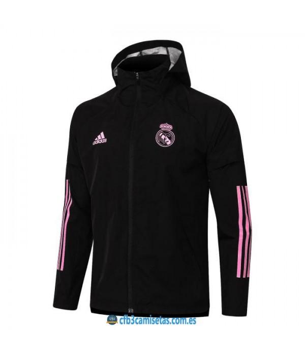 CFB3-Camisetas Chaqueta impermeable con capucha real madrid 2020/21 - negra