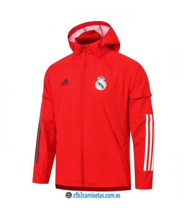 CFB3-Camisetas Chaqueta impermeable con capucha real madrid 2020/21 - roja
