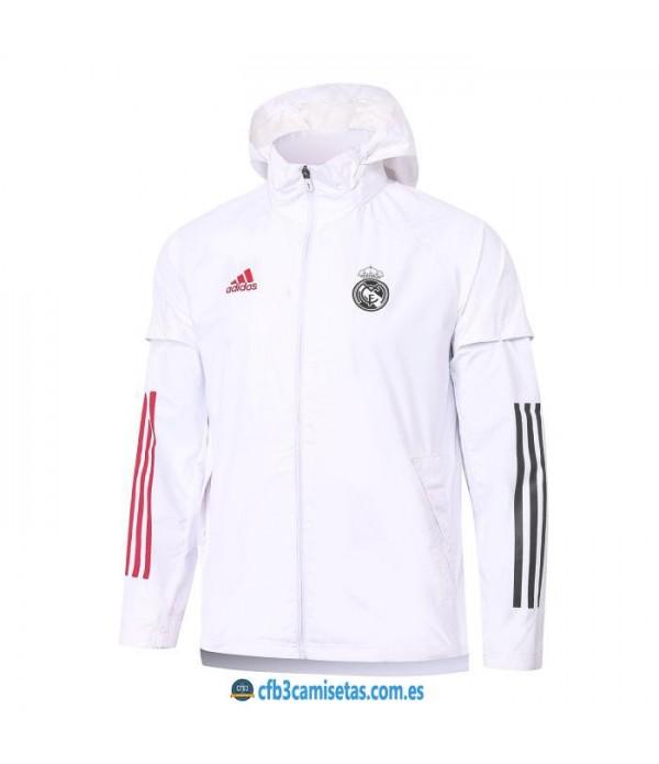 CFB3-Camisetas Chaqueta impermeable con capucha real madrid 2020/21