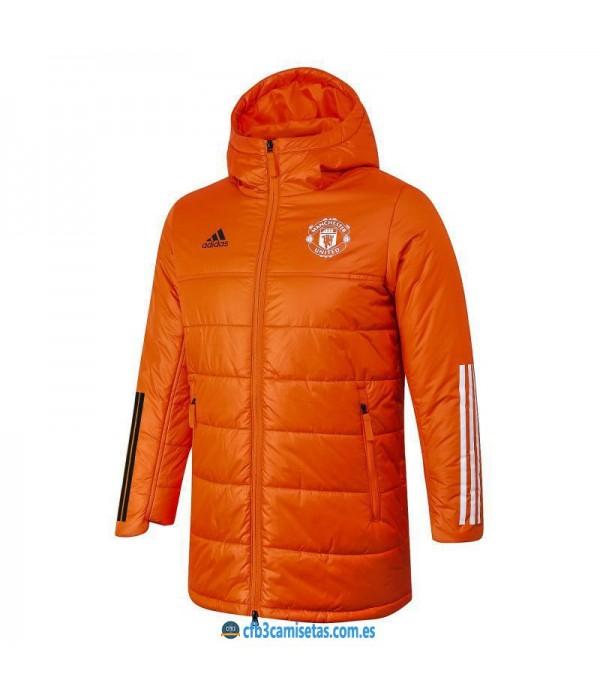CFB3-Camisetas Chaqueta acolchada manchester united 2020/21 - naranja
