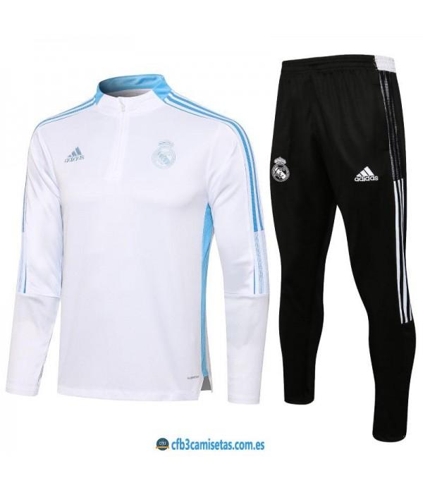 CFB3-Camisetas Chándal real madrid 2021/22 blanco